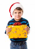 stock photo of cunning  - Cunning little boy in Santa - JPG