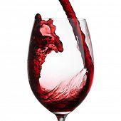 image of merlot  - Red Wine Pouring with splashes into wine glass - JPG