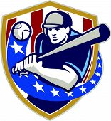 pic of hitter  - Illustration of a american baseball player batter hitter holding bat batting set inside crest shield shape with stars and stripes done in retro style isolated on white background - JPG