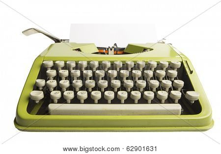 Portable green typewriter with sheet of paper isolated on white