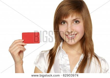 Girl showing red card in hand