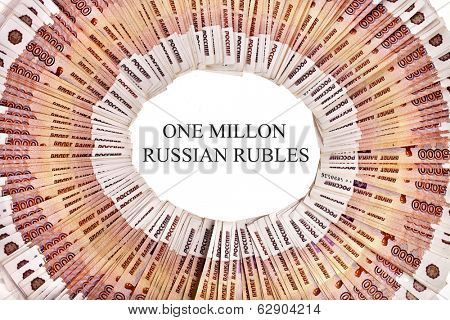 Frame of Russian rubles banknotes surface top view isolated on white background