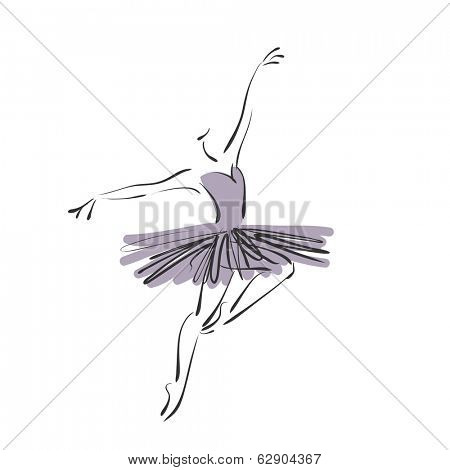 art sketched beautiful young ballerina with tutu in ballet pose.Vector version is also in my gallery
