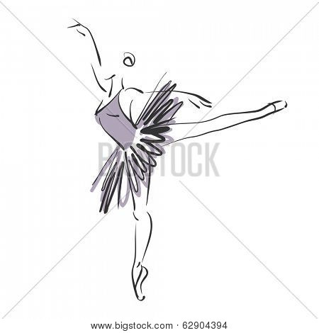 art sketched beautiful young ballerina with tutu in ballet pose. Vector version is also in my gallery.