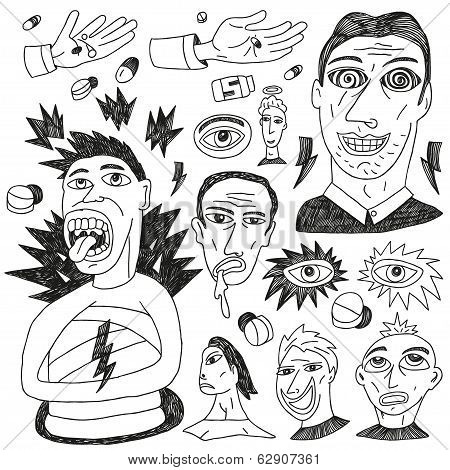 crazy people - doodles set