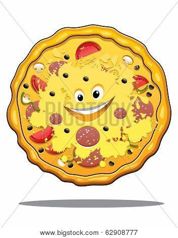 Cartoon pepperoni pizza