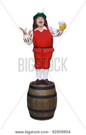 Model With Beer Drinker And Barrel.