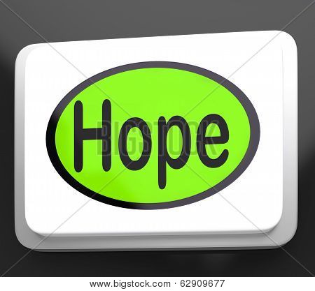 Hope Button Shows Hoping Hopeful Wishing Or Wishful