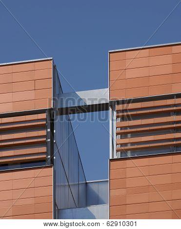 Ceramic Building Facade With Metallic Parts.