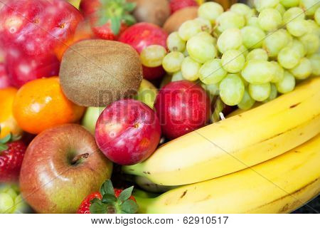Background Of Colorful Fresh Tropical Fruit