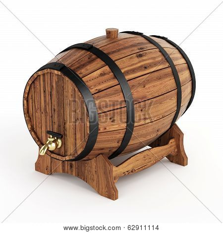 Isolated wine barrel