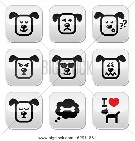 Dog buttons set - happy, sad, angry isolated on white
