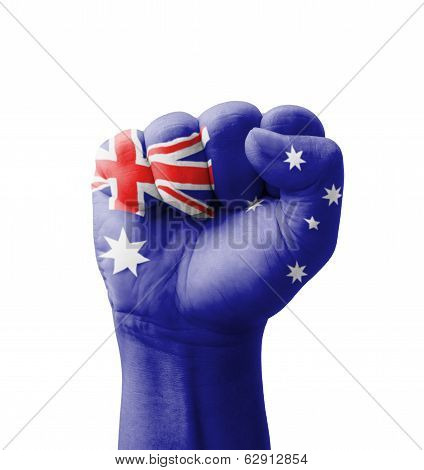 Fist Of Australia Flag Painted, Multi Purpose Concept - Isolated On White Background