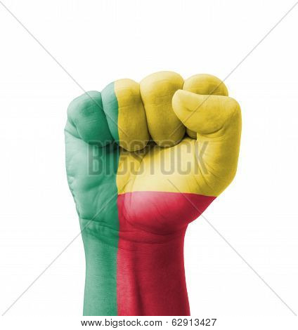 Fist Of Benin Flag Painted, Multi Purpose Concept - Isolated On White Background