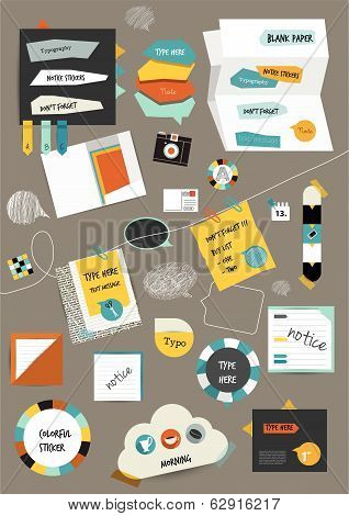 Work office web layout. Colorful graphic template. Folder, sticker, graph, tab, data, bubbles set. V