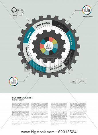Cog wheel circle diagram for info graphic. 3D scheme template.