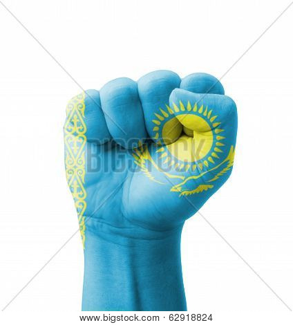 Fist Of Kazakhstan Flag Painted, Multi Purpose Concept - Isolated On White Background
