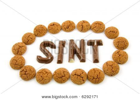 "The Word ""sint"" In Chocolate Letters"