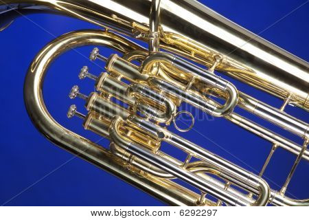 Tuba Euphonium Isolated On Blue
