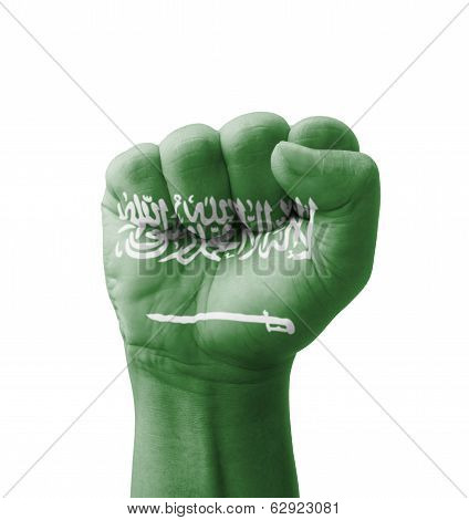 Fist Of Saudi Arabia Flag Painted, Multi Purpose Concept - Isolated On White Background