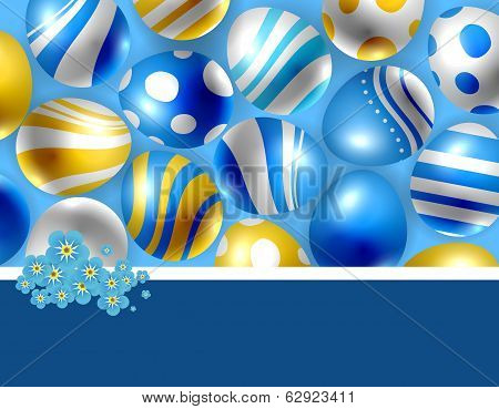 Easter Eggs And Forget- Me- Not Flowers