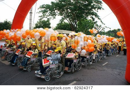 Invalid People On Wheelchair At Charitable Activity Event
