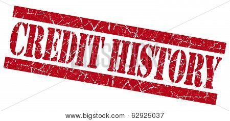 Credit History Red Square Grunge Textured Stamp Isolated On White