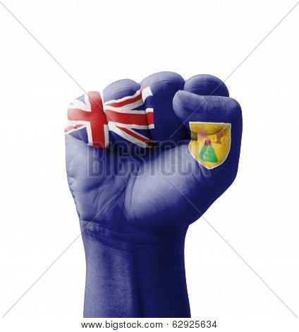 Fist Of Turks And Caicos Islands Flag Painted, Multi Purpose Concept - Isolated On White Background