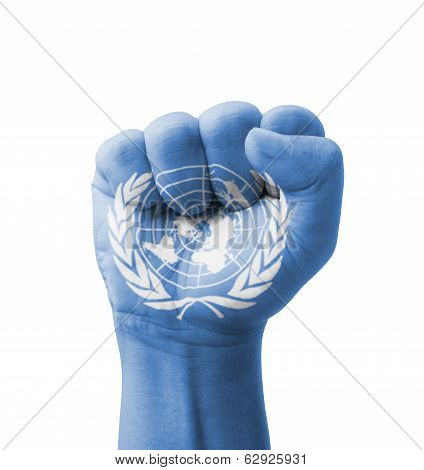 Fist Of Un (united Nations) Flag Painted, Multi Purpose Concept - Isolated On White Background