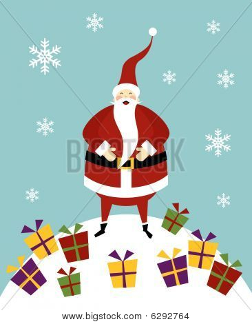 Christmas Serie: Happy Santa Claus On A Snow Mountain With Lot Of Gifts