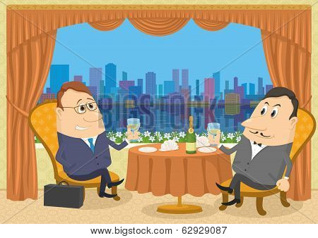 Two gentleman businessman in Restaurant
