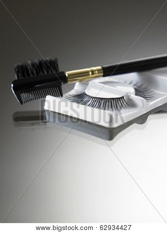 eyebrow brush and artificial eyelash
