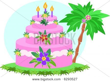 Happy Birthday Tropical Cake