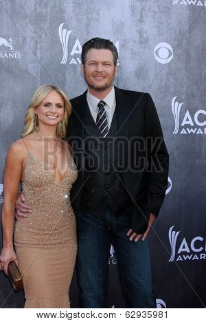 LAS VEGAS - APR 6:  Miranda Lambert, Blake Sheldon at the 2014 Academy of Country Music Awards - Arrivals at MGM Grand Garden Arena on April 6, 2014 in Las Vegas, NV