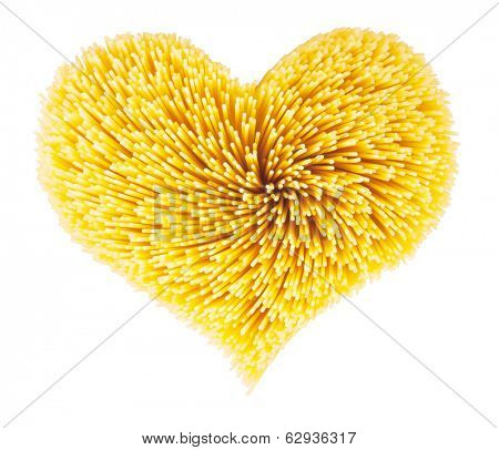 Dry spaghetti in the shape of heart