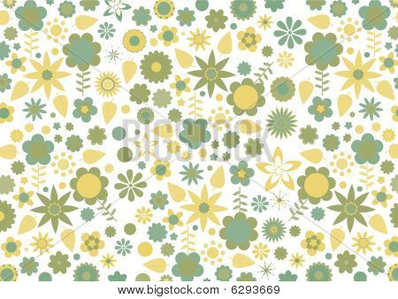 Green And Yellow Flowers And Leaves Retro Pattern