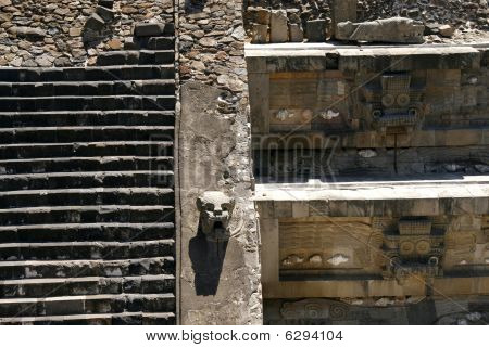 """temple Of The Feathered Serpent"" Wall Detail In Teotihuacan Pyramid Complex, Mexico"