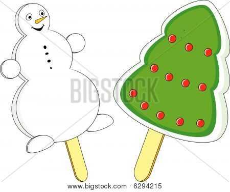 Snowman and a decorated Christmas tree icecream on white background