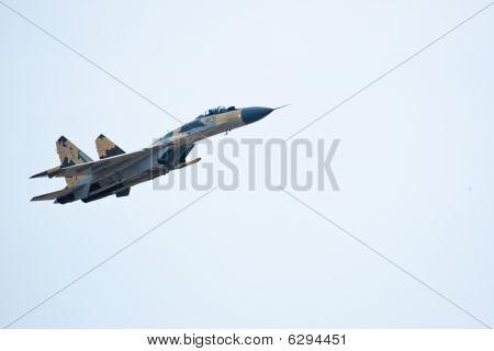 Zhukovskiy, Russia - 22 August, 2009: Military Airplane Su 27 At Intenratiol Airshow Maks 2009, Zhuk