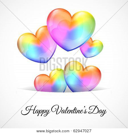 Background with Multicolor Heart Balloons