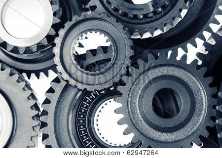 Closeup of metal cog gears