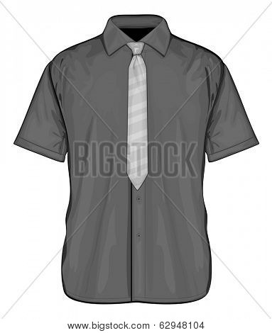 Vector illustration of black dress shirt (button-down) with neckties. Short sleeve. Front view