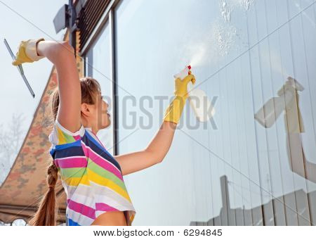 Young Woman Washing The Window