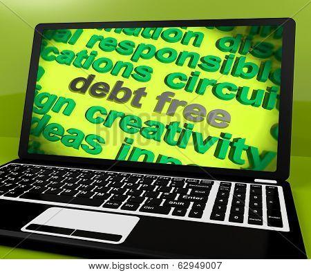Debt Free Screen Shows Good Credit Or No Debt