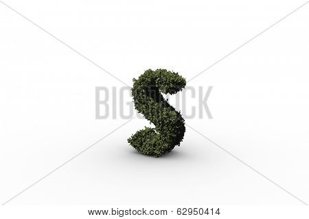 Lower case letter s made of leaves on white background