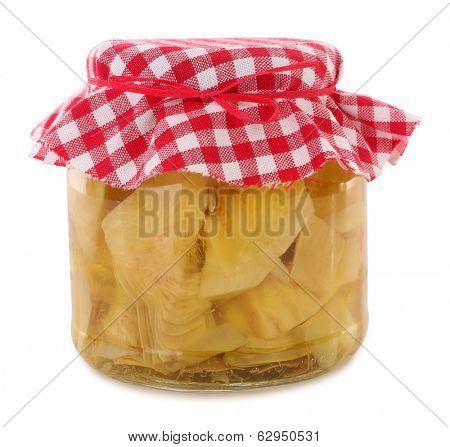 Jar of preserved artichoke