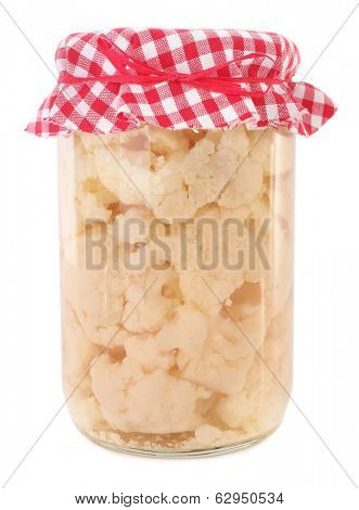 Jar of preserved cauliflower