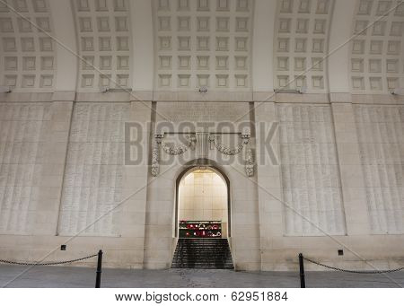 List Of Mia Soldiers On Walls Of Menin Gate In Ypres, Belgium.