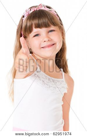 Portrait of cute little girl showing thumb up, isolated on white background