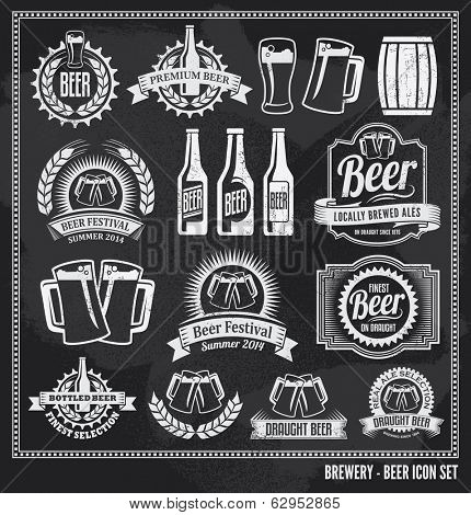 Beer icon chalkboard set - labels, posters, signs, banners, vector design symbols. Removable background texture. poster